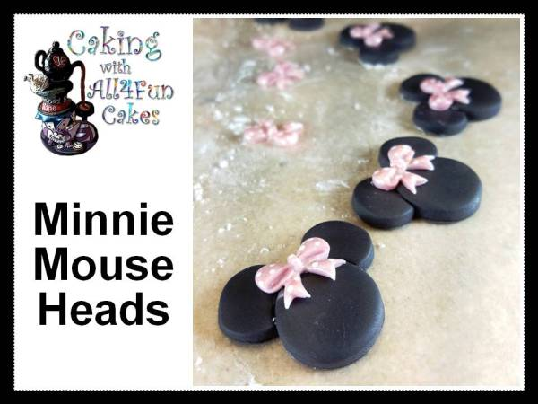 Fondant Minnie Mouse Head Decorations for Minnie Mouse Theme Sinful Decadence Chocolate Birthday Cake with White Chocolate Buttercream by All4Fun Cakes