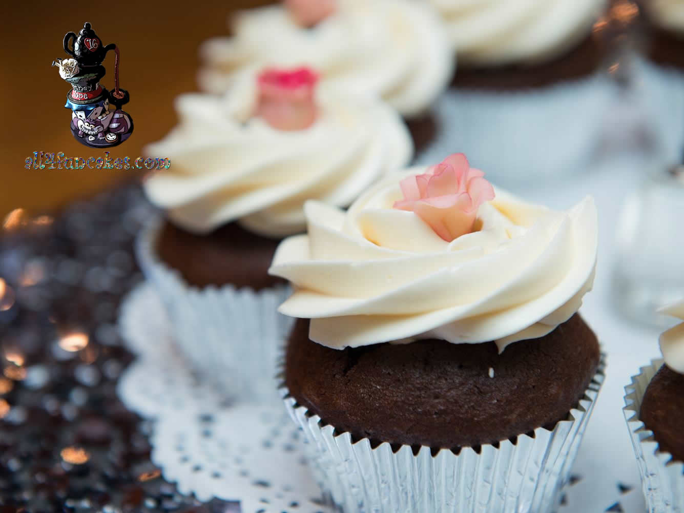 Fancy Cupcakes with Fondant Rose Topper by All4Fun Cakes LLC