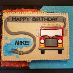 Fire Fighting Engine Truck Hose Birthday Sheet Cake for Gladstone Fire Department by All4Fun Cakes LLC 2017