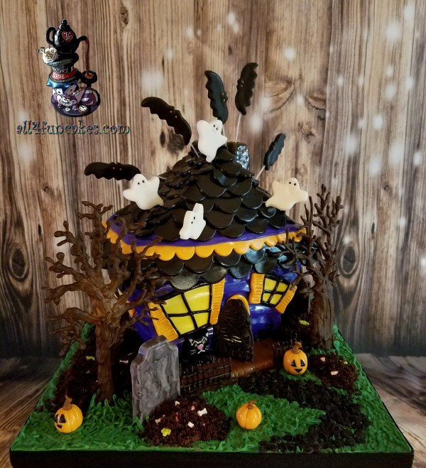 Haunted House Sculpted Birthday Cake by All4Fun Cakes