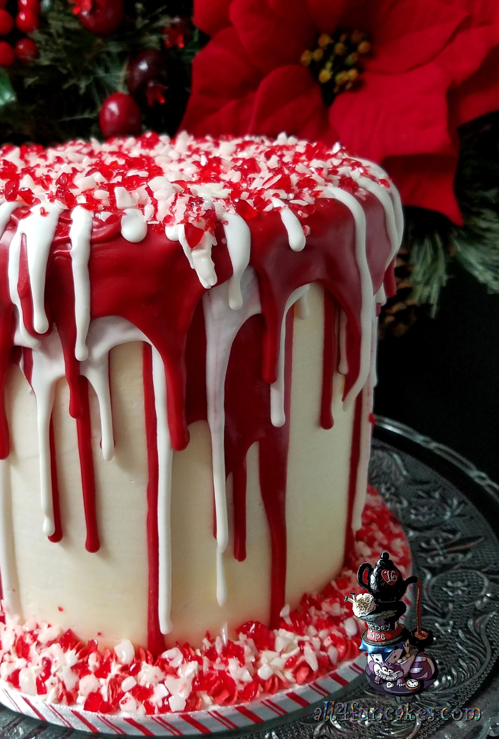 Birthday Holiday Party Chocolate Raspberry Peppermint Christmas Dessert Cake by All4Fun Cakes 2017