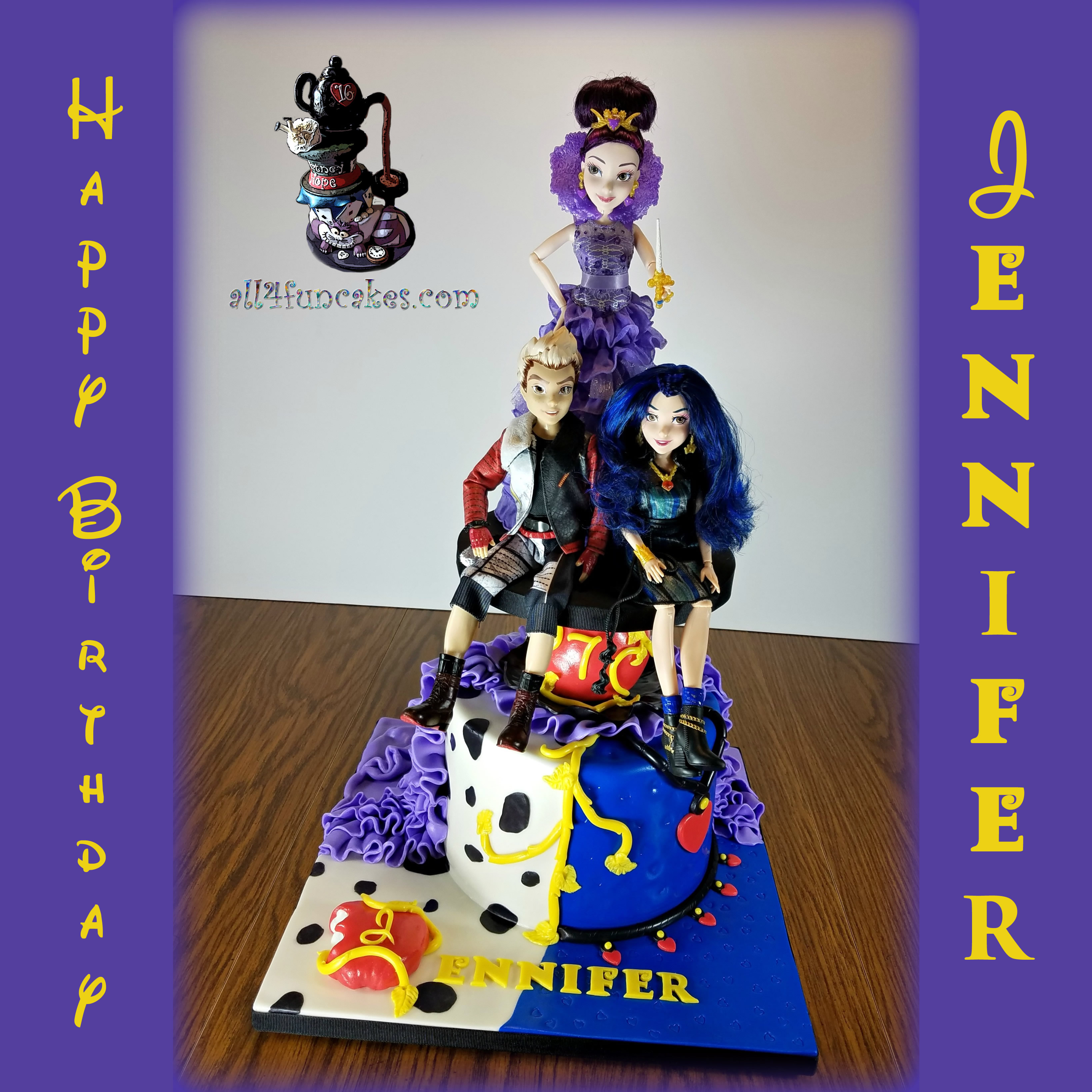 Descendants Birthday Special Occasion Cake with Licensed DIsney Toy Dolls Topper by All4Fun Cakes LLC 2017