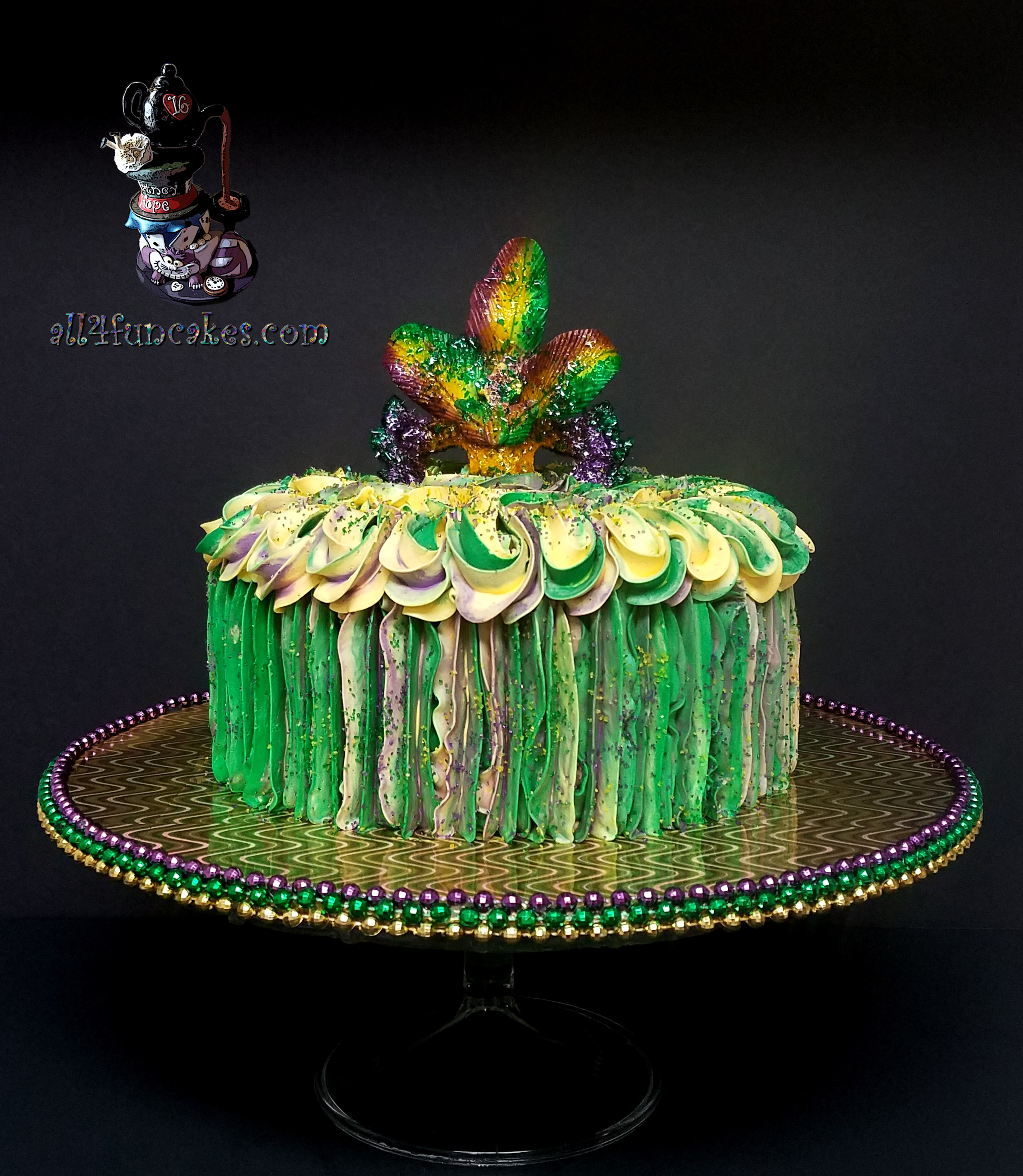 Special Occasion Mardi Gras Theme Cake Sugar Mask Topper for Holy Cross Fundraiser Auction by All4Fun Cakes LLC 2018