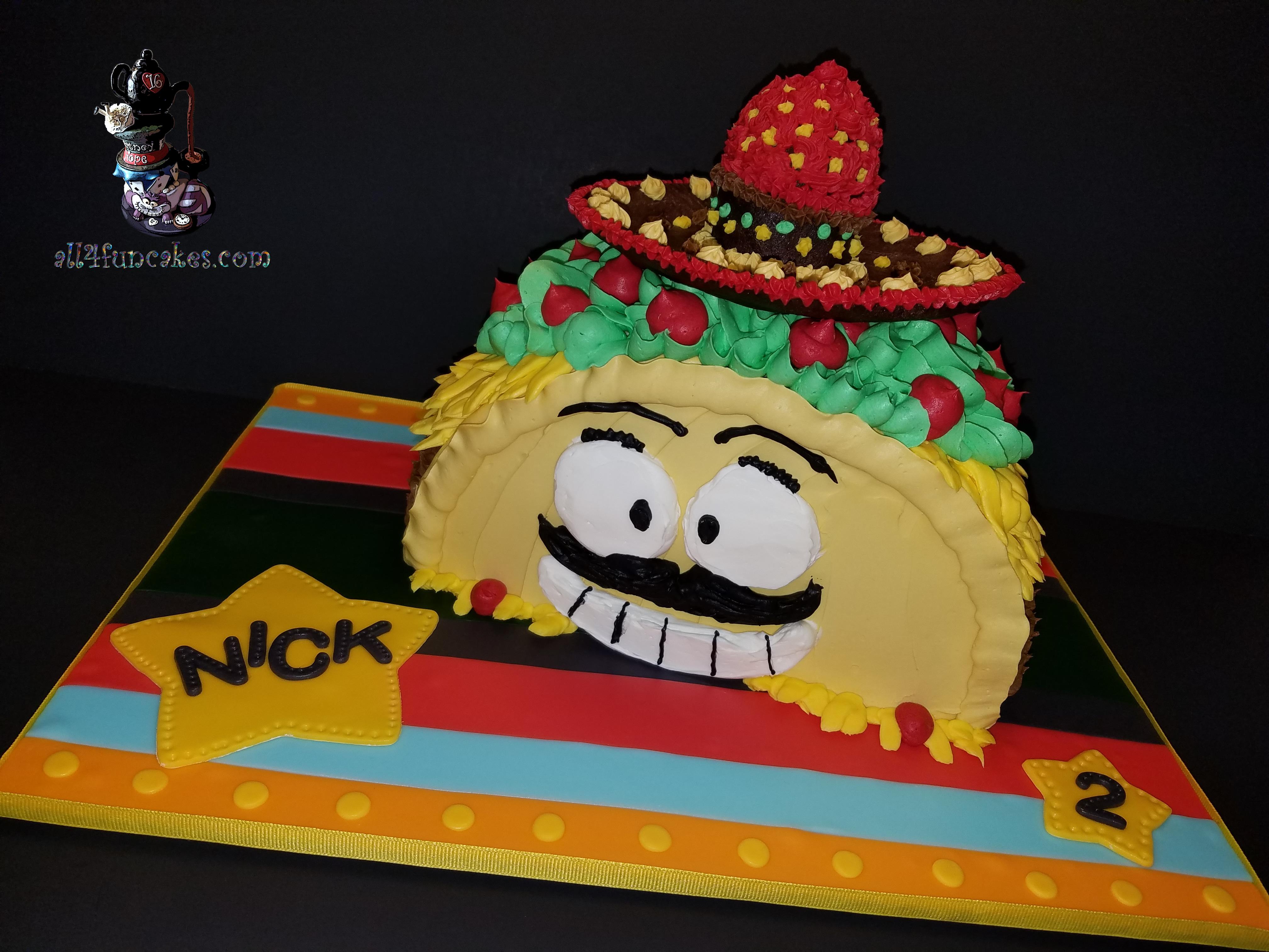 Mr Taco Loco Sculpted Smash Birthday Cake By All4fun Cakes Llc 2017