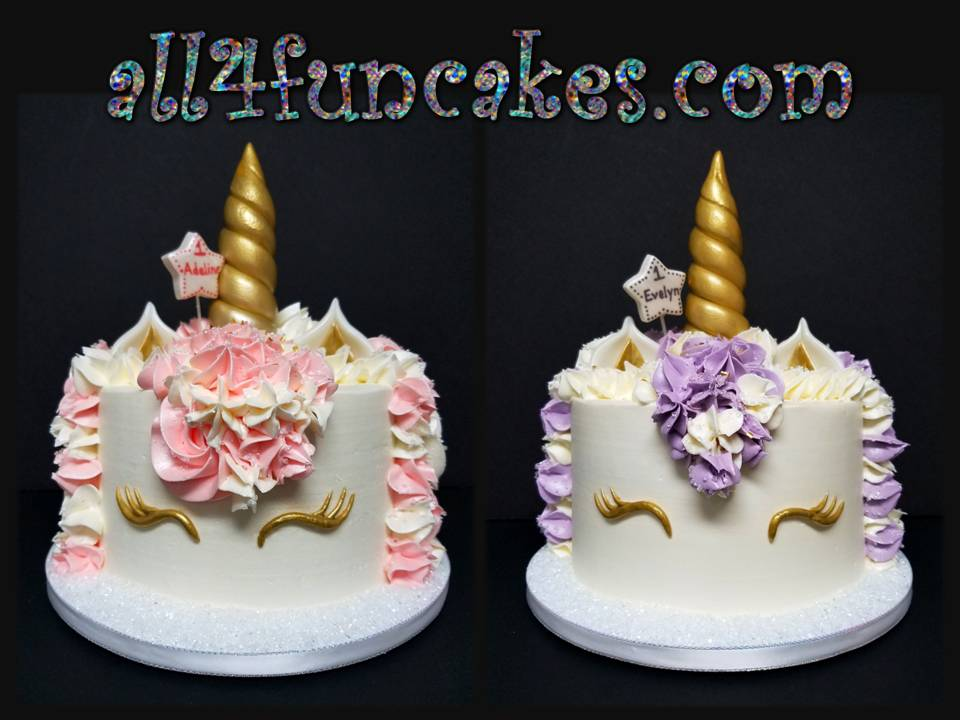 Pink And Purple Unicorn Smash Birthday Cakes For Twin GIrls 1st By All4Fun LLC 2017