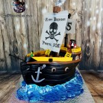Pirate Ship Sculpted Pineapple Cream Cheese Birthday Cake by All4Fun Cakes LLC 2018