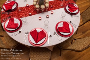 Be My Valentine Table - Velvet Majesty Parfaits - Red Velvet Cake with Cheesecake Mousse and Whipped Cream - All4Fun Cakes LLC 2018 - Two Girls Catering
