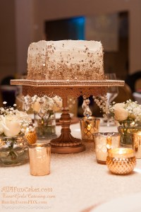 Sugar Free Almond Cake with Amaretto Mousse Filling and Almond/Amaretto Buttercream - Rose Gold and Ivory Simple Elegance - All4Fun Cakes LLC 2018