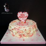 Special Occasion Valentines Hearts Ruffles Rosettes Baby Girl Shower Cake by All4Fun Cakes LLC 2018