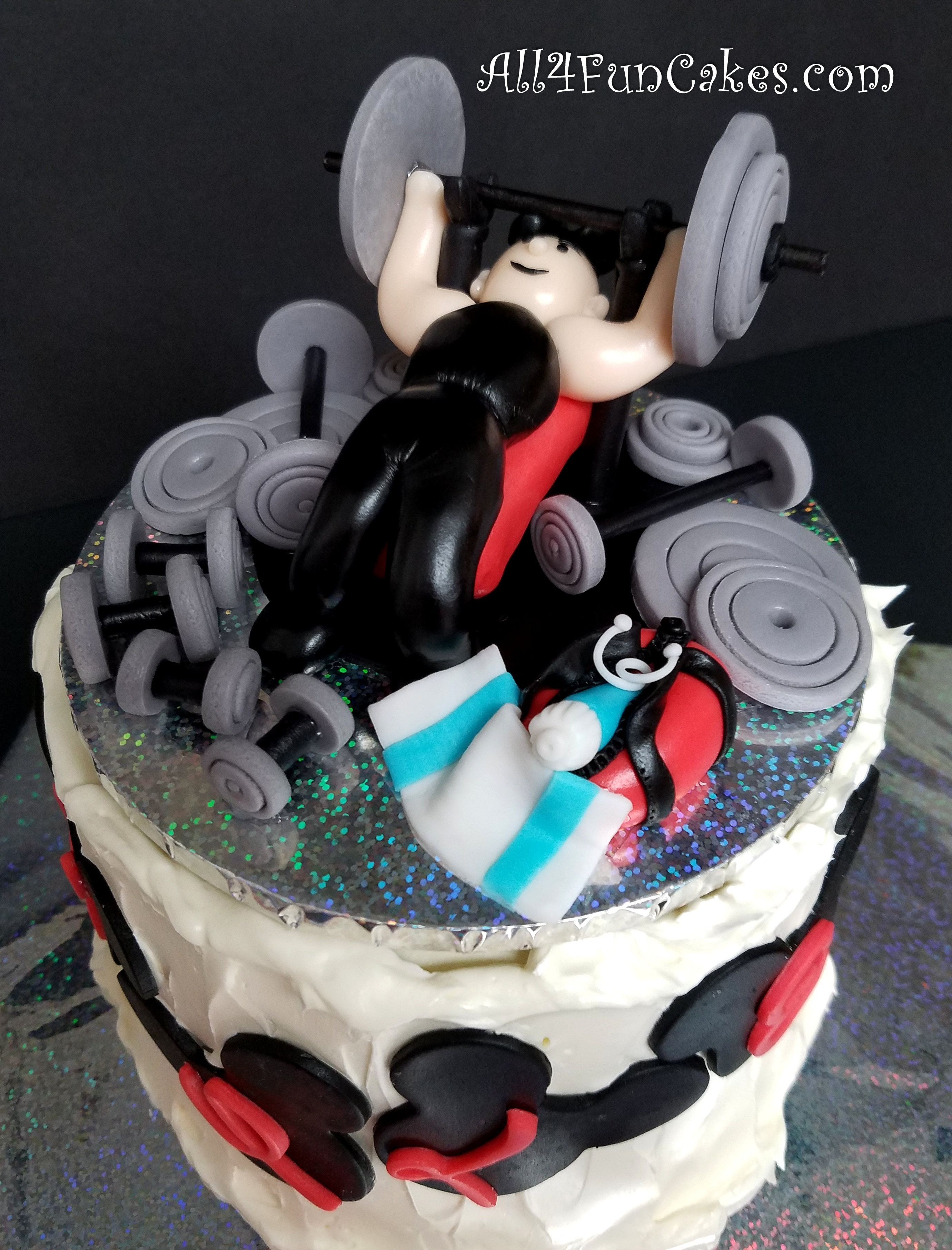 Special Occasion Weight Lifter Lifting Disney Mickey Mouse Fan Birthday Cake by All4Fun Cakes LLC 2018