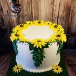 Yellow Flowers Wreath Birthday Wedding Anniversary Cake by All4Fun Cakes LLC 2018
