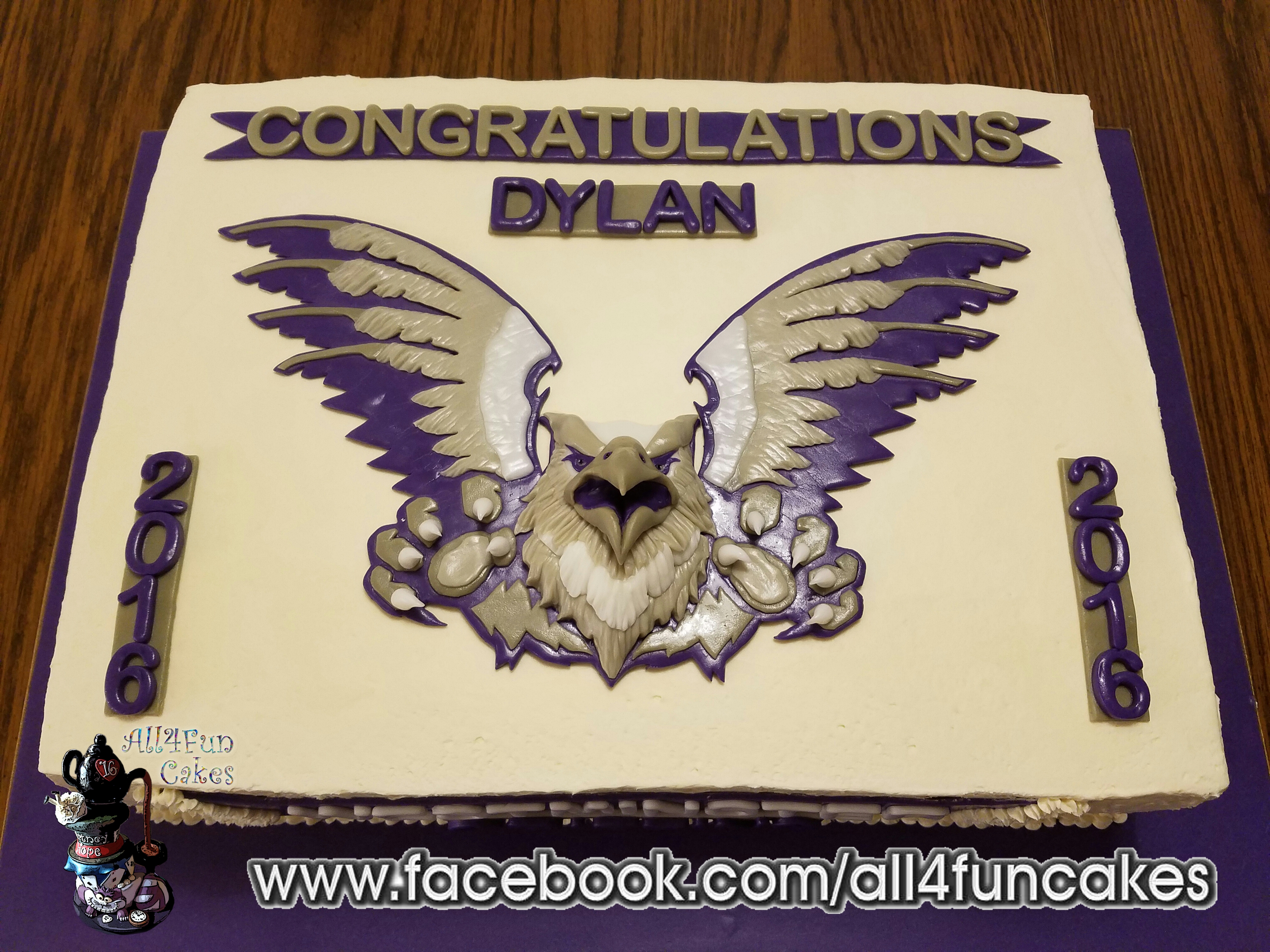 Westminster Griffins College Graduation Sheet Cake by All4Fun Cakes LLC 2016 - Single Use License Granted by Westminster College Salt Lake City Utah