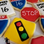STOPLIGHT STOP INTERSTATE SPEED LIMIT Street Sign 16th Birthday Cookies by All4Fun Cakes LLC 2018