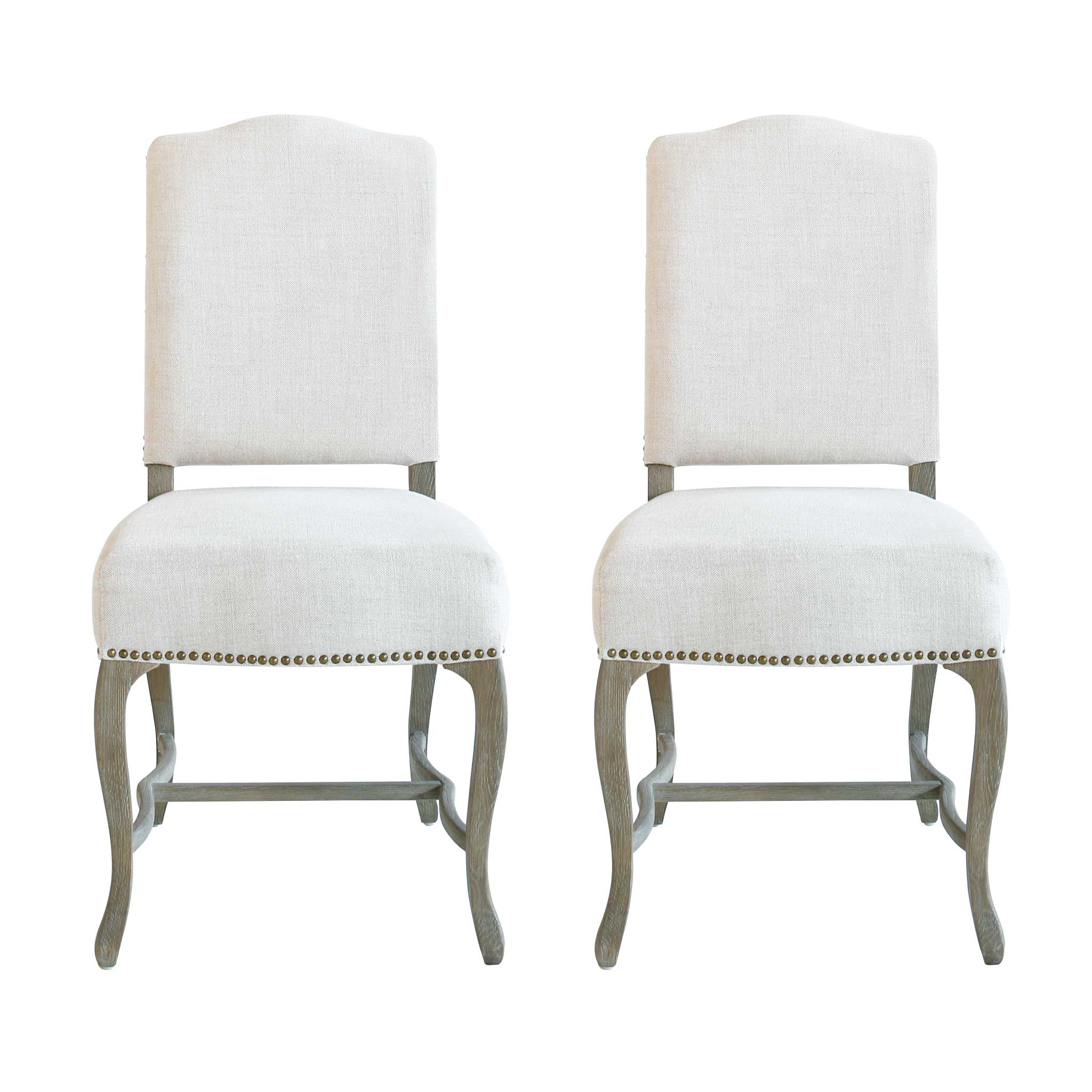 Studded Dining Chairs Set Of 2 Candide Oak Studded Dining Chair