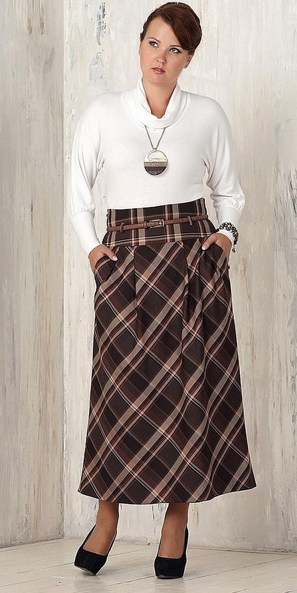 ea0ef8c4708 Многослойные модели из легкой ткани до щиколотки – подходящий вариант.  Интересные модные юбки для полных женщин - фото