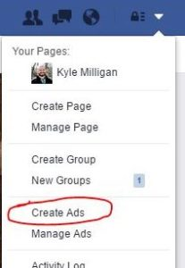 Facebook dropdown create ads
