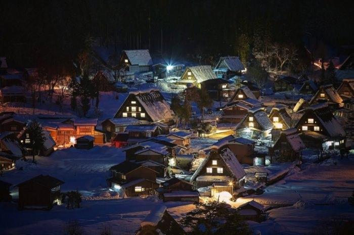 γραφικές χειμερινές πόλεις του κόσμου Shirakawa-go, Japan