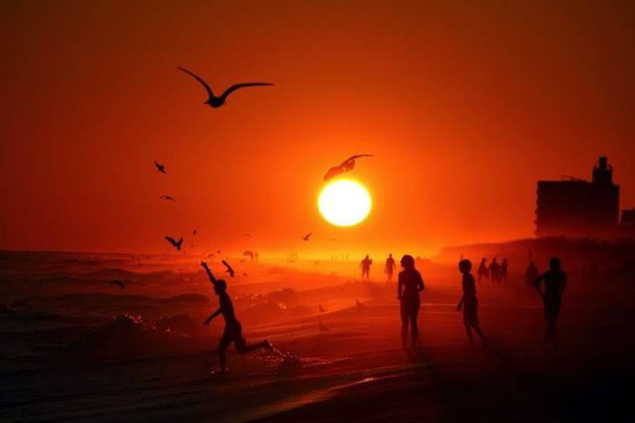 Ηλιοβασίλεμα στην παραλία Pensacola, ΗΠΑ