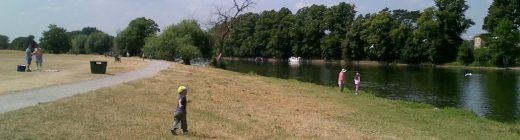 A view of fishing swims on the Thames at Hurst Park in Molesey