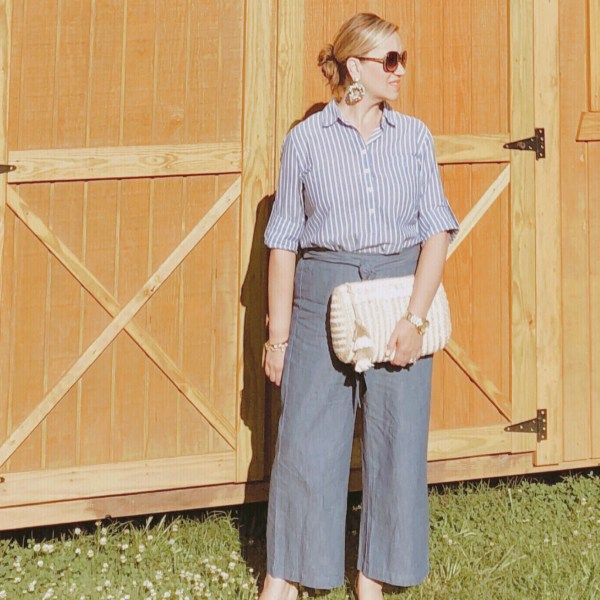 Adorable Chambray Tie-Waisted Pants