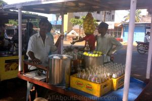 a Limbu Soda cart in Belgaum