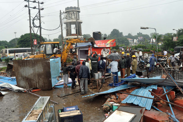 about 18 shops at RR bus stand near Fort were demolished by the Corporation today. KSRTC had objected on the same