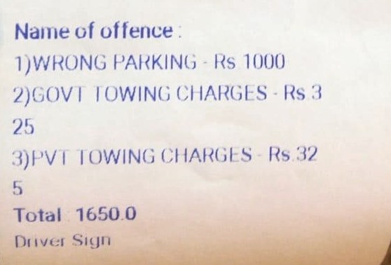 Towing charges for no parking in Belagavi