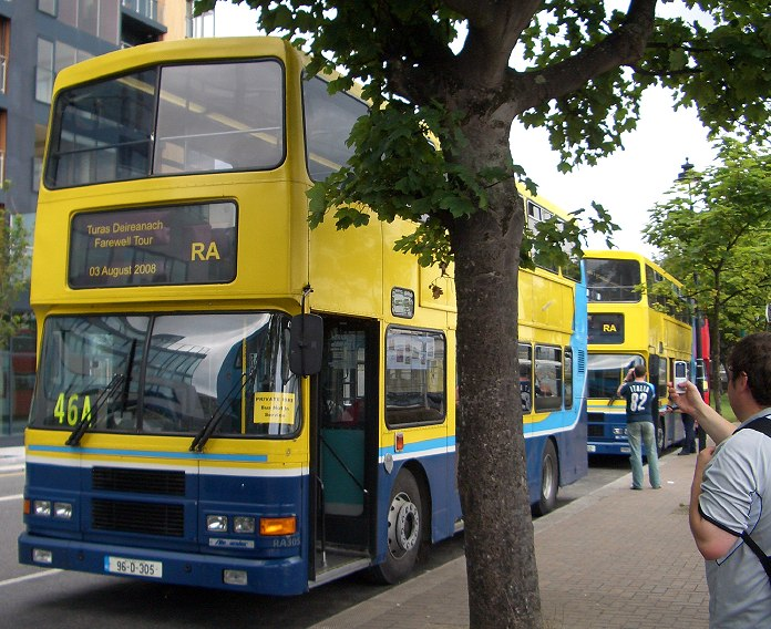 The RAs at Dun Laoghaire 46A terminus, showing the blinds custom-made for the occasion.