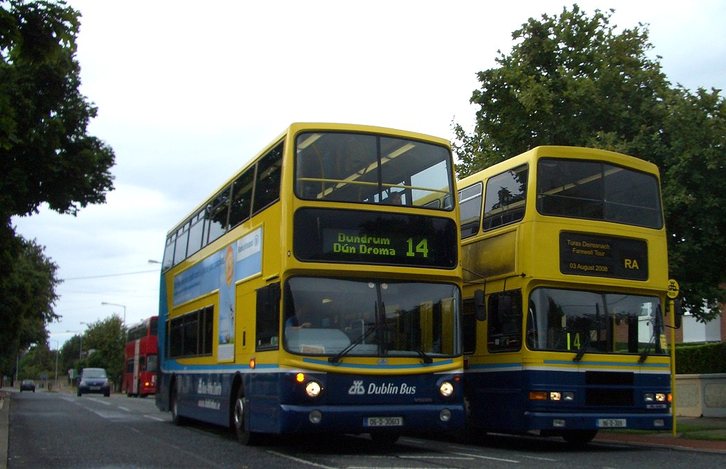 The new order - AX613, one of the buses whose transfer to Donnybrook brought about the end of the RAs, overtakes at the old 14 terminus on Braemor road