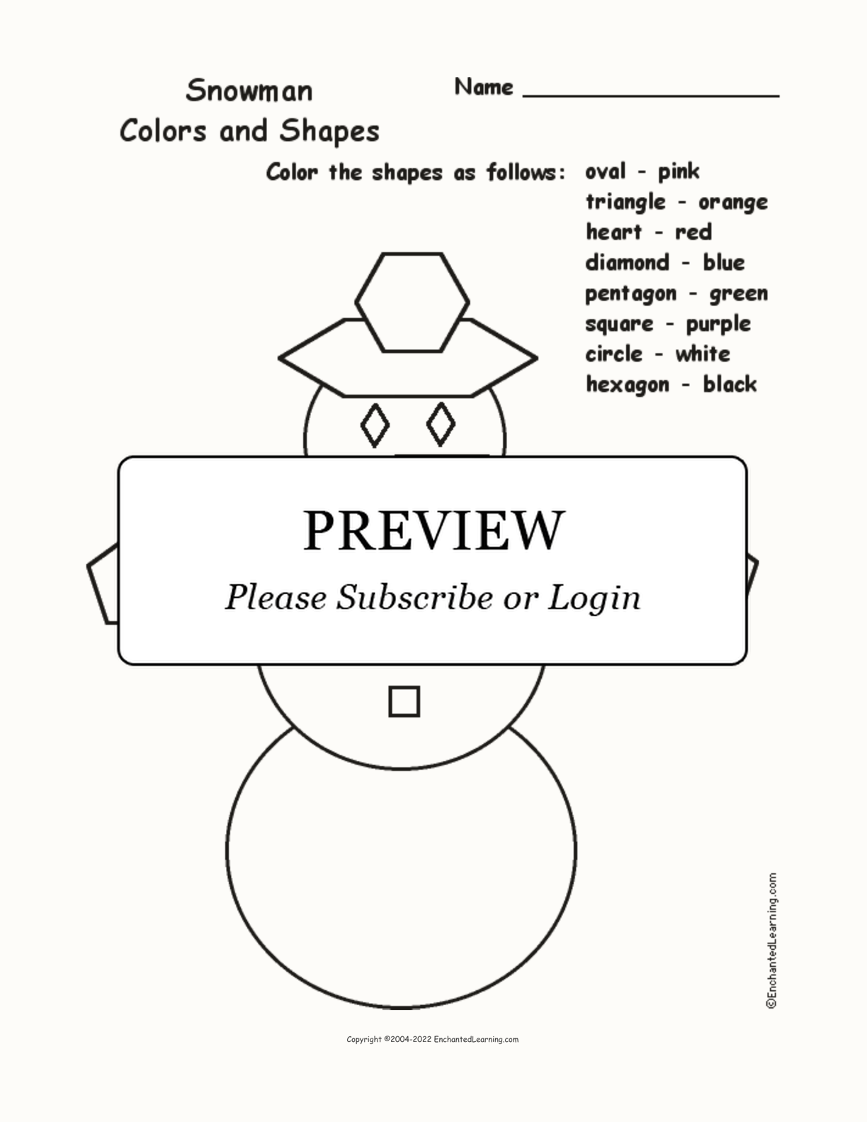 Snowman Colors And Shapes