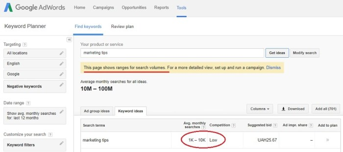 how to find out keyword volumes