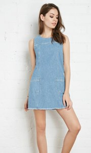 Forever 21 Frayed Chambray Shift Dress