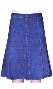 Kosher Casual Women's Modest Knee Length Flared Denim Skirt