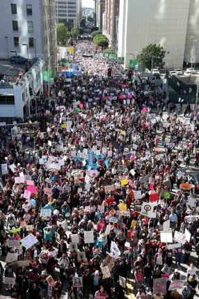 Over a 100,000 demonstrators participate in the Woman's March in Los Angeles, California. IMAGE: MIKE NELSON/EPA