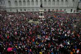 Demonstrators rally during the Women's March on Saturday, Jan. 21, 2017 in San Francisco, Calif. Thousands rallied to raise awareness of women's rights at the United Nations Plaza. Photo: Santiago Mejia, The Chronicle