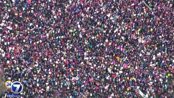 Tens of thousands of women march through Seattle. PHOTO: KIRO-TV