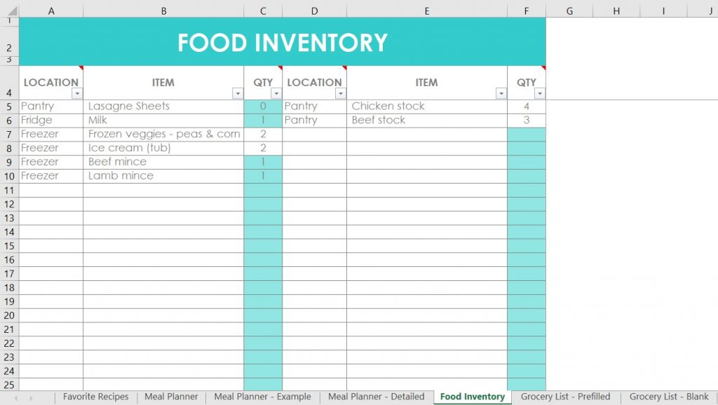 You can share and also publish your custom evaluation with others. How I Use Excel For Organizing Recipes Meal Planning Food Inventory And Grocery Lists