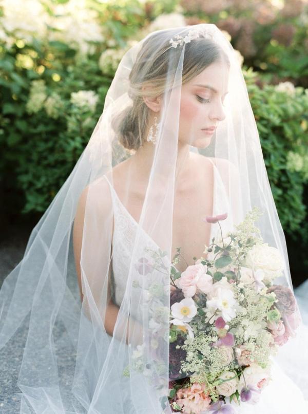 Chapel veil with blusher, wedding veil, bridal veil