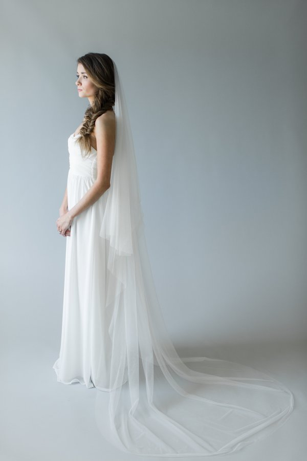 Silk Tulle Wedding Veil with Blusher | AMORE