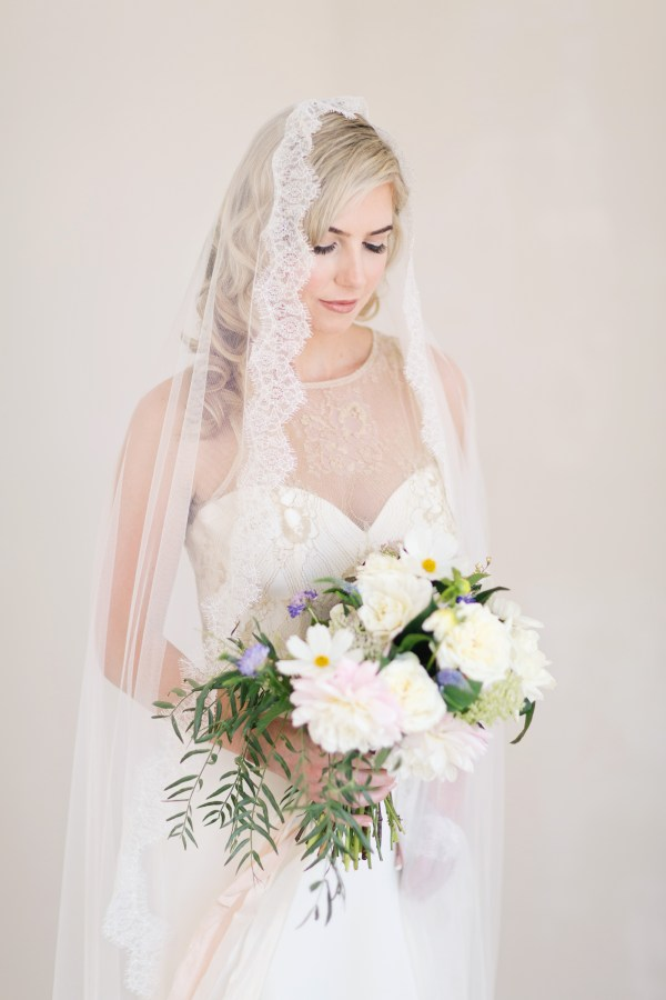 Lace Mantilla Wedding Veil | ADRIANNA