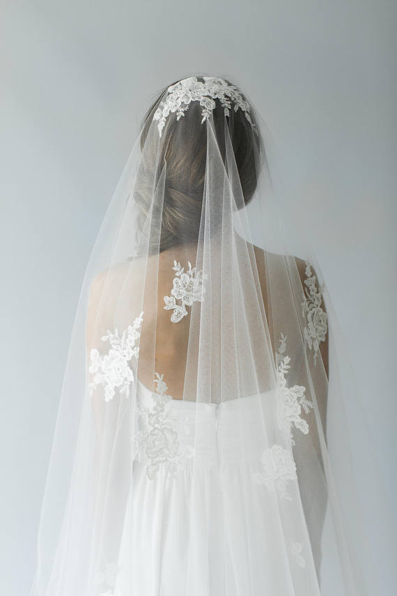 Embroidered Chapel Length Veil with Blusher | PRIMROSE