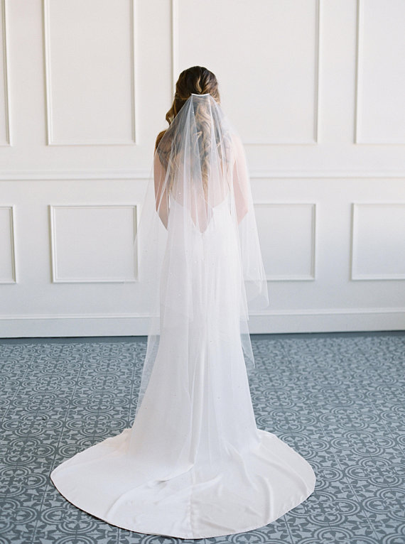 JASMINE - Crystal Wedding Veil with Blusher