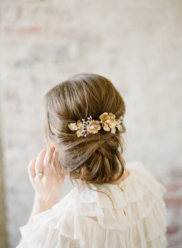 Brass Flower and Leaves Bridal Comb | SOMNER