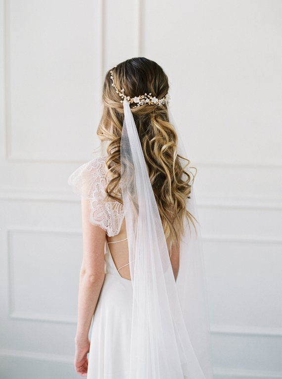 French Silk Draped Veil - AMARANTE