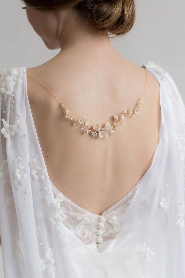 back necklace, wedding necklace, bridal necklace