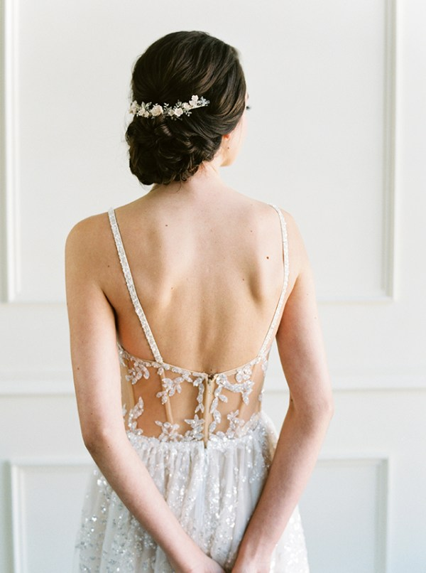 silver blush bridal comb