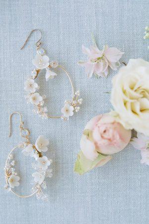 wedding hoop earrings, statement earrings, bridal earrings, flower earrings