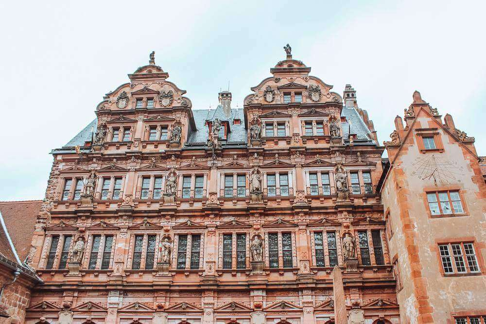 Ornate facade of Heidelberg castle in Germany, the perfect way to spend one day in Heidelberg cityy centre