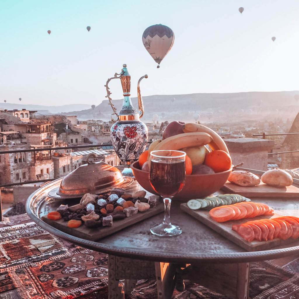 Breakfast at the Sultan Cave Suites Cappadocia Turkey. The ultimate bucket list place.