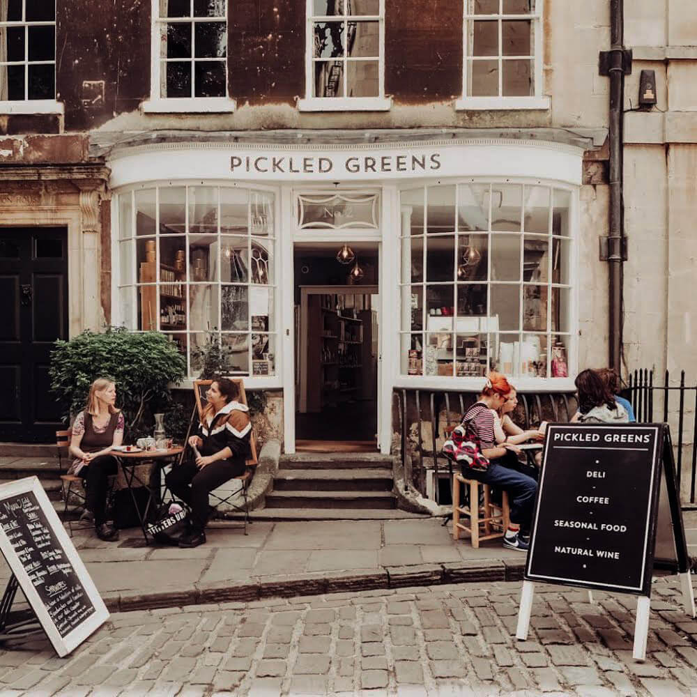 Exterior of Pickled Greens restaurant in Bath UK